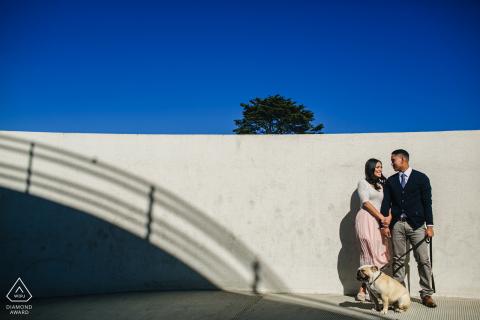 San Francisco, California couple with their bull dog during a prewedding shoot