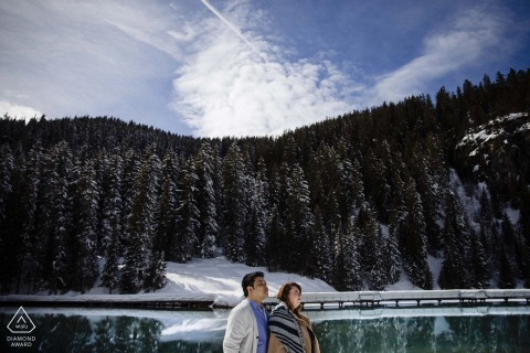 Courchevel Love engagement session in the winter with snow at the lake
