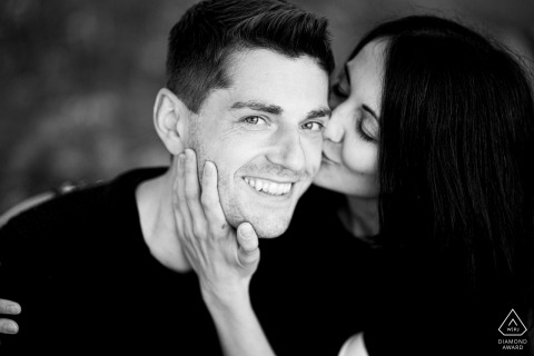 A closeup portrait of a newly engaged couple at the Malhostovicka pecka