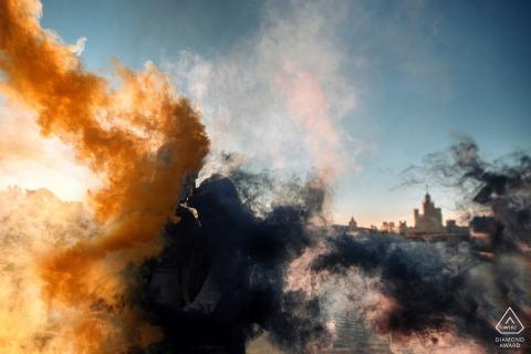 Stone Bridge, Moscow Sunrise smoke bomb portrait session for engaged couple