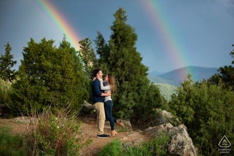 Mt. Falcon, Denver Colorado engagement portrait | After waiting for the storm to pass, the couple were treated to not one but two incredible rainbows.