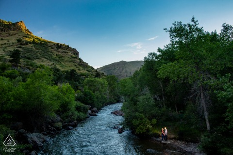 The engaged couple wanted a big landscape view for their engagement photos at Clear Creek, Golden, Colorado