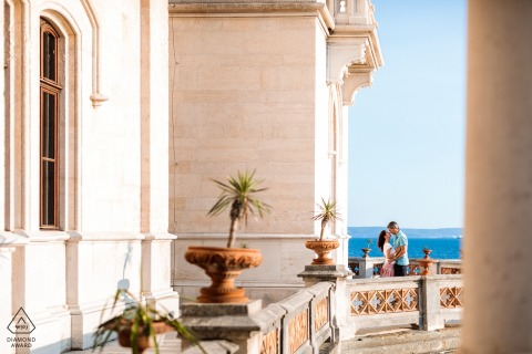 Trieste, Italy Love and a wonderful castle as a background for a nice engagement portrait