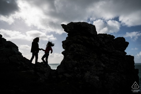 Cotes-d'Armor Brittany engagement couple portrait on the rocks
