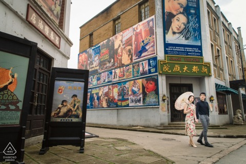 The couple walked out from a movie theater during a pre-wedding session in Shanghai, China