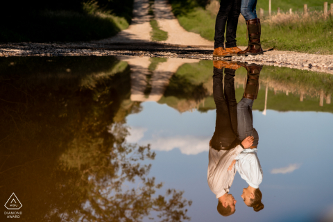 England farm couple portrait with water Reflections