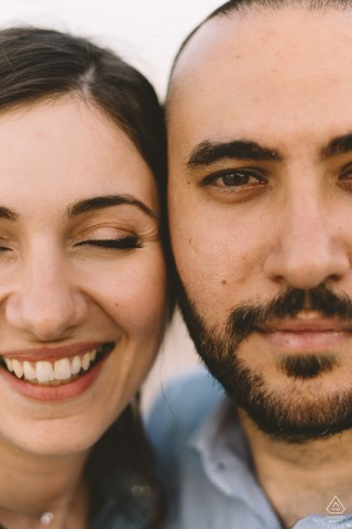 athens, Greece couple's faces close up during portrait session for engagement pictures