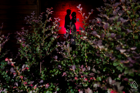 Ho Chi Minh City Pre- Wedding backlit, red engagement portrait with a silhouette