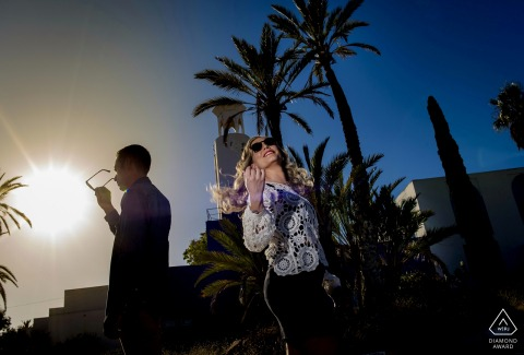 The Palm trees of Aguilas - Spain add to this striking engagement portrait in the sun
