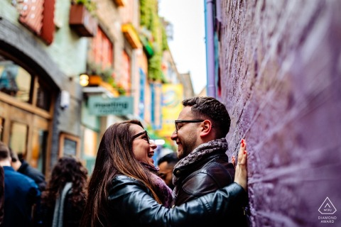 Smiles and colors bring this London, UK engagement session alive