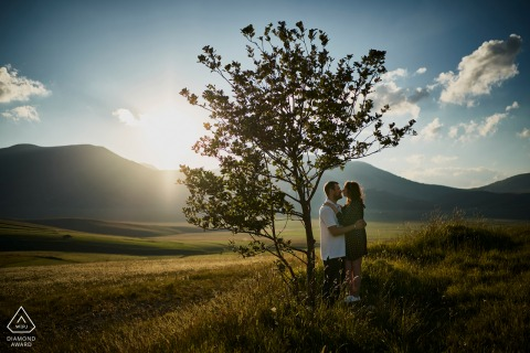 Castelluccio di Norcia  pre-wed shoot with fields and mountains