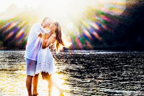 Engagement Photographer: Strangely, this is exactly how the sun streaks appeared and I used it as a artistic effect for the photo at Knoetzie beach, Knysna