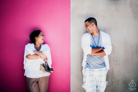 Western Cape Town engagement photographer: I saw this divide of colours in the wall colours and played with this theme of divide for this fun photo