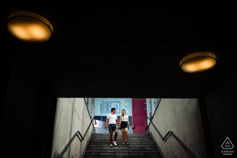 Sofia, Bulgaria	Portrait of a couple in the underground area walking down stairs during engagement session