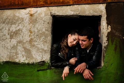 a Sofia, Bulgaria Rooftop portrait of a couple during an outdoor engagement photoshoot