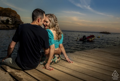 a Águilas Spain engaged couple portrait with the Sunset and beach