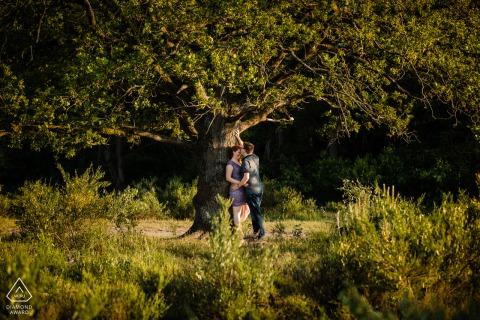Heide Huizen Loveshoot Paar Verlobungsporträts mit einem riesigen Baum