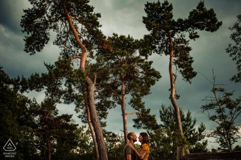 Utrecht Paar Verlobungsporträts am See in der Nähe von riesigen Bäumen in Landgoed Den Treek