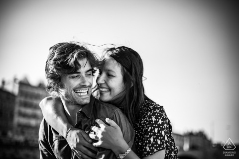Lyon engagement portrait love session in black and white