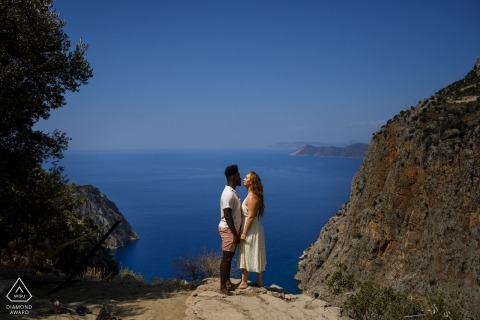 A pre wedding photo in Kelebekler Vadisi, Fethiye, Mugla, Turkey above the beach waters