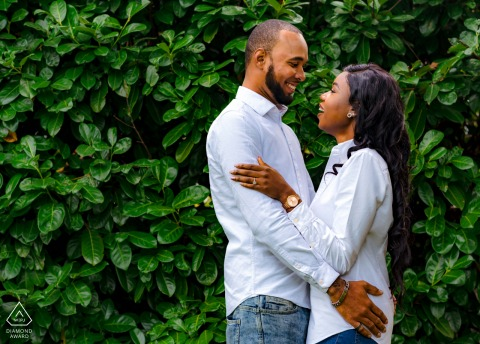 Happiness between a couple during portrait session  at Clapham Park, London, United Kingdom