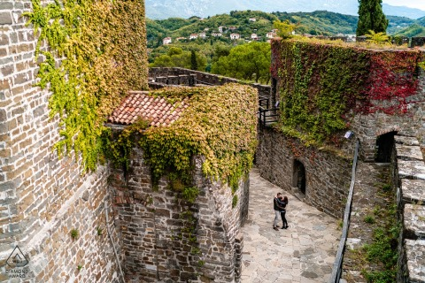 Overhead engagement shoot at Gorizia Castle, Italy