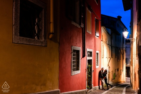 a Gorizia, ItalyNight engagement portrait for a couple in love