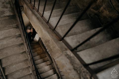 Ho Chi Minh City prewedding portrait on concrete stairways