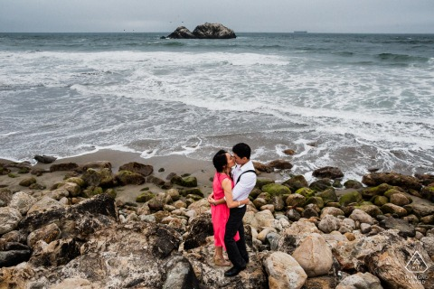 San Francisco intimate couple portrait session by the sea for engagement photos