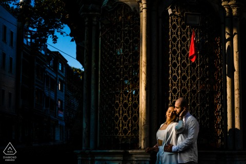 Engagement Photo Session with a couple in front of a historical Turkish market