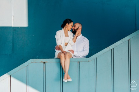 Istanbul engagement couple portrait on a staircase landing with Blue Love