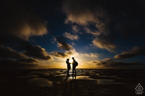 Image from a West Kirby Beach Proposal at sunset
