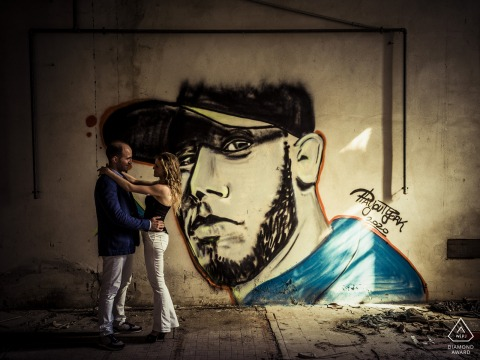 Ceparana urban love in engagement pictures with painted mural