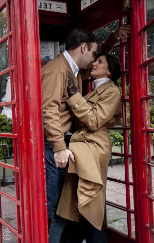 Recoleta, Buenos Aires engagement session in a vintage, red phone booth on the city streets