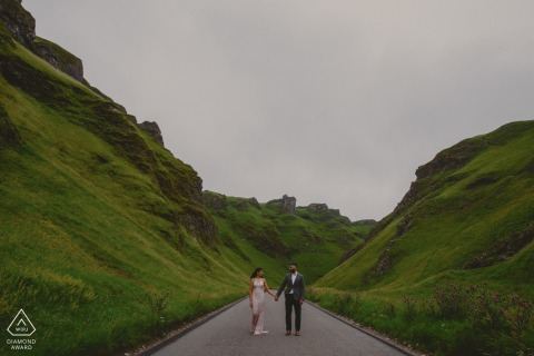 Pre-wed shoot in the mountain Peak District of Winnat's Pass