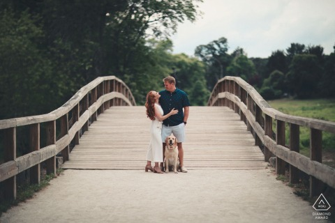 Engagement session on the historic Old North Bridge of Concord MA