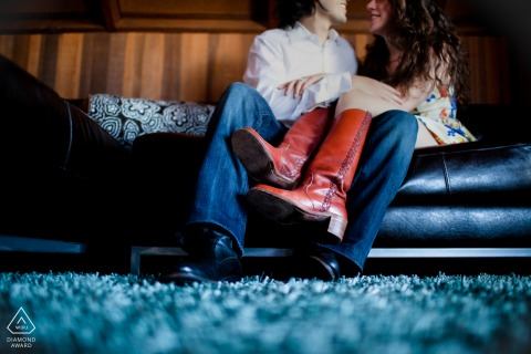 San Francisco Jeans and red boots romance portrait session on the couch