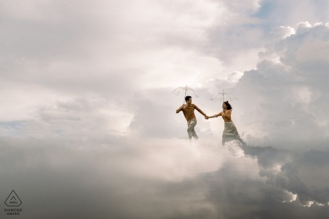 Dalat Pre-Wedding shoot with a couple running on love in the clouds of the sky