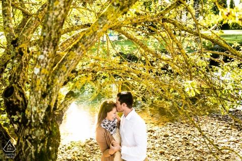 Annecy See - Frankreichpaar, das unter einem Baum am Rande eines Flusses küsst