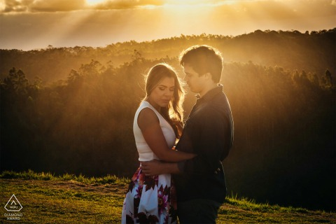 Santa Teresa, Espírito Santo, Brazil E-Session at sunset with a young, engaged couple