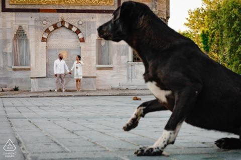 伊斯坦布爾情侶和狗在土耳其合影留念