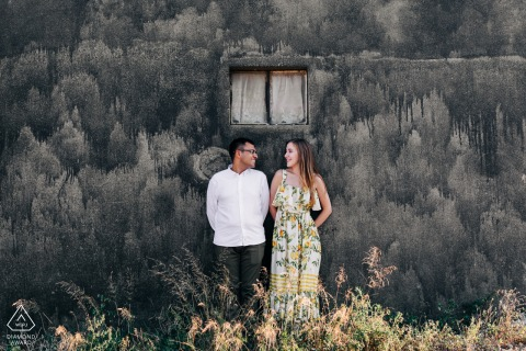 this bursa couple is always together - engagement portraits in the afternoon against a painted wall
