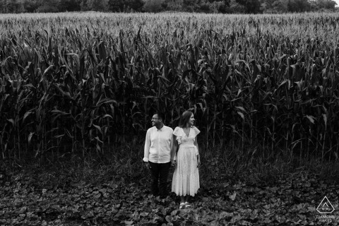 Turkey corn field couple portraits during enagement shoot in bursa