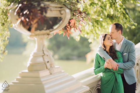 Central Park portrait session on bow bridge for couple of NYC