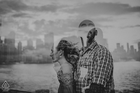 Toronto Harbour, Ontario engagement portrait in double exposure with skyline
