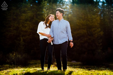 Colorado sunlight couple engagement photography at Vail, CO