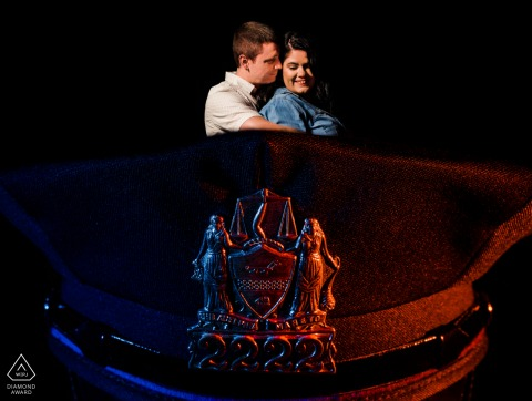 Cops couple engagement image from Peddler's Village, the groom is a police officer so I incorporated his hat and the police colors into the photo of the two of them