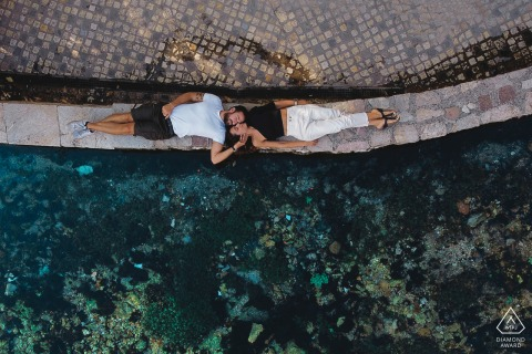 Overhead arial couple engagement photo by drone in Rasiglia