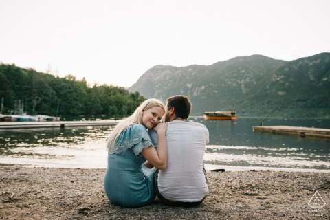 Romantic water couple engagement photos at Lake Bohinj, Slovenia