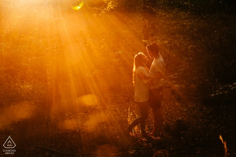 Afternoon sun flare engagement portraits of sundrenched couple embracing at golden hour at Bedelands Nature Reserve, West Sussex, England
